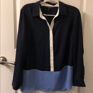 Talbots Navy and lavender color block blouse